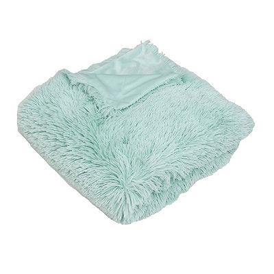 Turquoise Chubby Faux Fur Throw Blanket