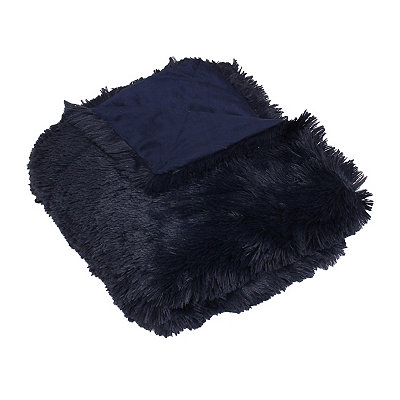 Navy Chubby Faux Fur Throw Blanket