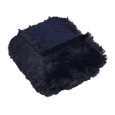 Navy Chubby Faux Fur Throw Blanket