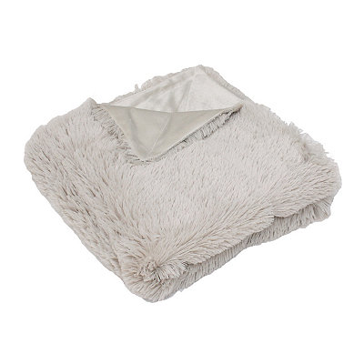 Tan Chubby Faux Fur Throw Blanket