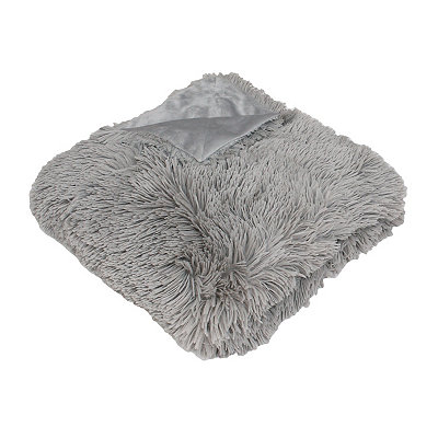 Gray Chubby Faux Fur Throw Blanket