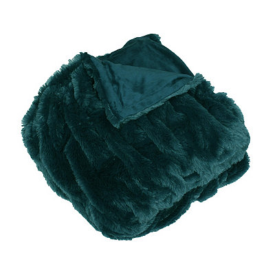 Teal Josephine Faux Fur Throw Blanket