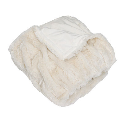 White Josephine Faux Fur Throw Blanket