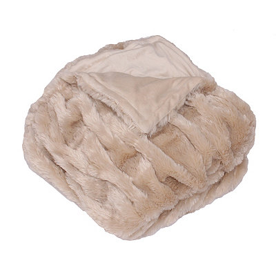 Oatmeal Josephine Faux Fur Throw Blanket