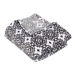 Gray Lillian Medallion Fleece Throw Blanket