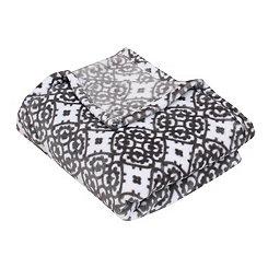 Gray Lillian Medallion Fleece Throw Blanket