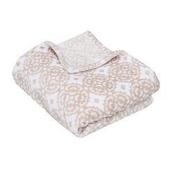 Tan Lillian Medallion Fleece Throw Blanket