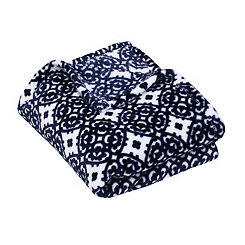 Navy Lillian Medallion Fleece Throw Blanket