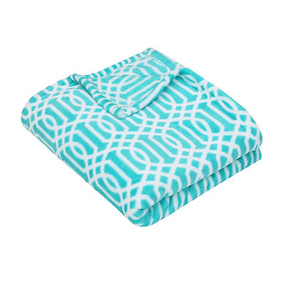 Aqua Lattice Print Fleece Throw Blanket