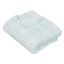 Harbor Blue Lattice Print Fleece Throw Blanket