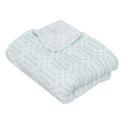 Harbor Blue Lattice Print Fleece Throw Blanket