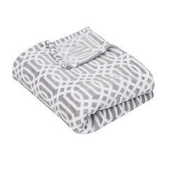 Gray Lattice Print Fleece Throw Blanket