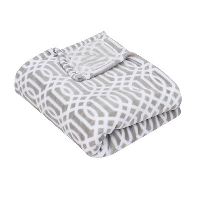 Gray Lattice Print Fleece Throw Blanket