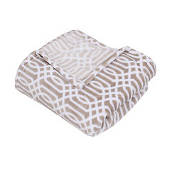 Tan Lattice Print Fleece Throw Blanket