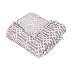 Tan Lattice Print Fleece Throw Blanket