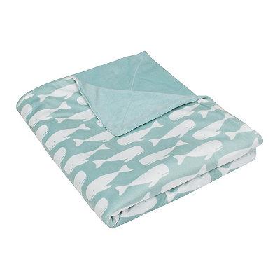 Harbor Blue Wally Whale Microplush Throw Blanket
