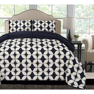 Navy Taylor Reversible Queen Comforter Set