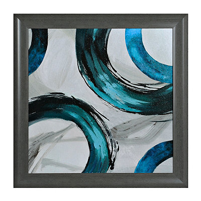 Teal Rings II Framed Art Print