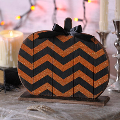 Chevron Wood Halloween Pumpkin