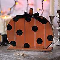 Polka Dot Wood Halloween Pumpkin