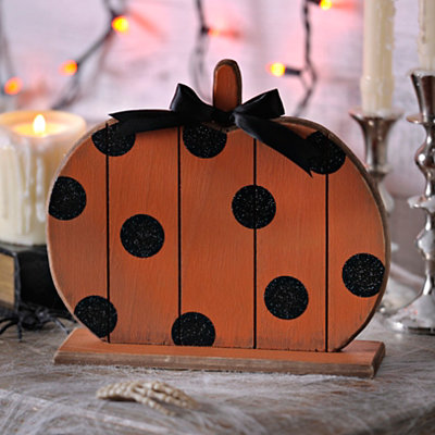 Polka Dot Wood Halloween Pumpkin