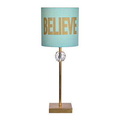 Blue and Gold Believe Buffet Lamp