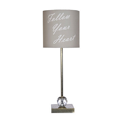 Gray and Silver Follow Your Heart Buffet Lamp