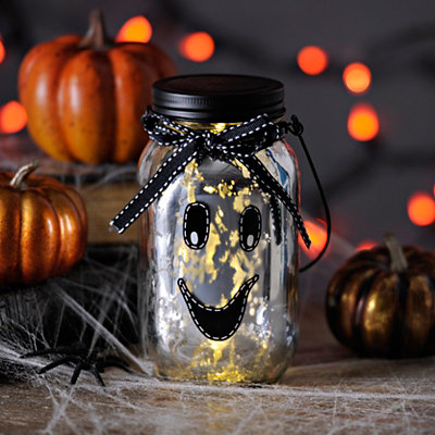LED Ghost Mason Jar Lantern