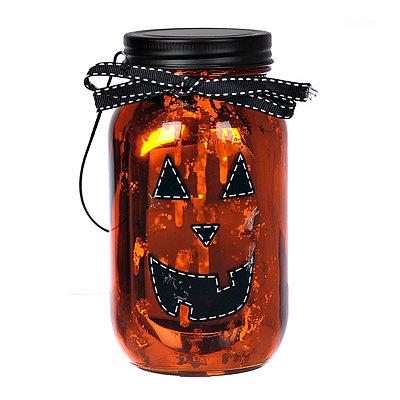 LED Jack O' Lantern Mason Jar Lantern