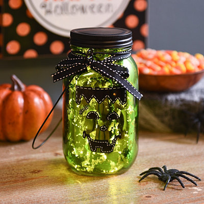 LED Frankenstein Mason Jar Lantern
