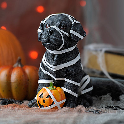 Spooky Mummy Black Lab Statue