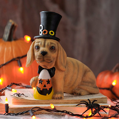 Candy Corn Hatted Dachshund Statue