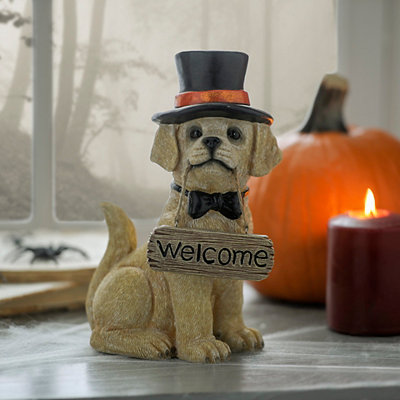 Welcome Sign Yellow Lab Statue