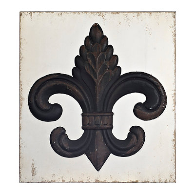 Ornate Bronze Fleur-de-Lis Wood and Metal Plaque