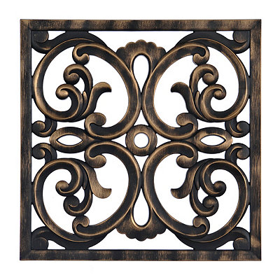Bronze Carved Scroll Medallion Wall Plaque