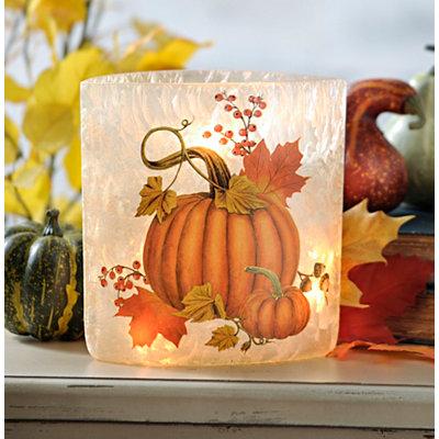 Pre-Lit Harvest Pumpkin Oval Vase