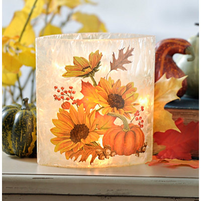 Pre-Lit Harvest Sunflower Oval Vase