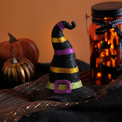 Glittery Black Witch's Hat Statue