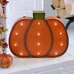 LED Orange Pumpkin Metal Plaque