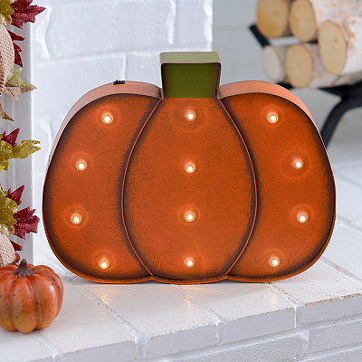 LED Orange Pumpkin Metal Plaque