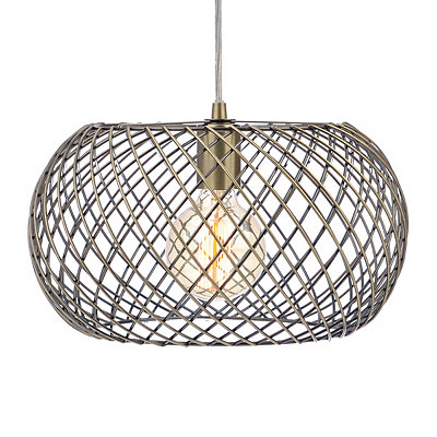 Antique Silver Lattice Dome Pendant Light