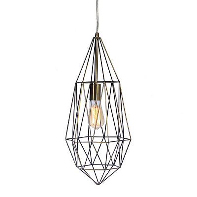 Antique Silver Drop Cage Pendant Light