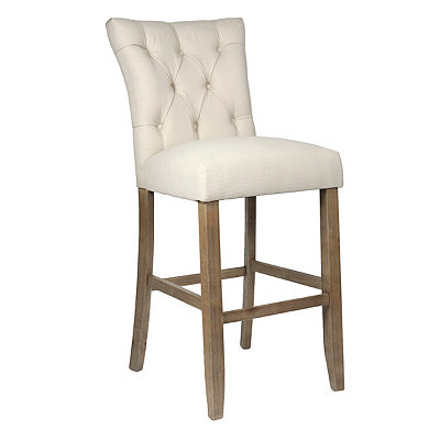 Oatmeal Linen Tufted Bar Stool