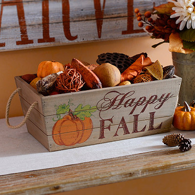Happy Fall Wooden Crate