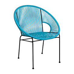 Aqua Plastic Wicker Woven Chair