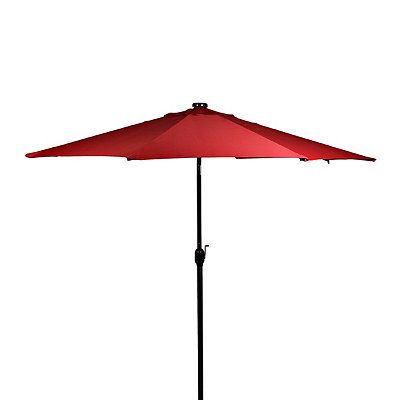 Red Solar LED Patio Umbrella