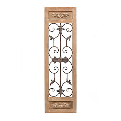 Ornate Door Wood and Metal Wall Plaque