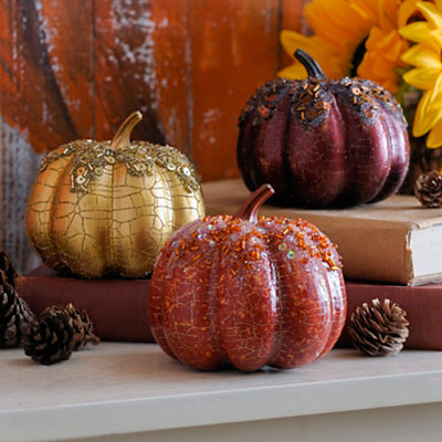 Glittery Mini Pumpkins, Set of 3