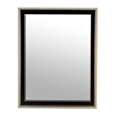 Black and Silver Framed Mirror, 37.5x47.5 in.