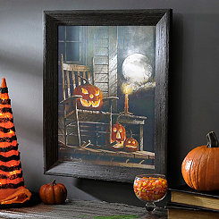 Spooky Jack O' Lantern LED Framed Wall Art